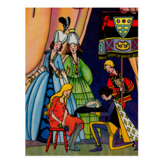 Cinderella, the prince and the glass slipper postcard
