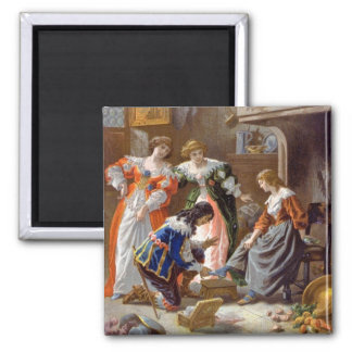 Cinderella Trying on the Slipper 2 Inch Square Magnet