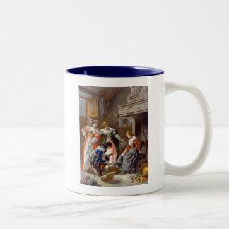 Cinderella Trying on the Slipper Two-Tone Coffee Mug
