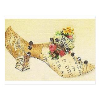 Cinderella Vintage Victorian Fan Slipper Post Card