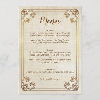 CINDERELLA WEDDING MENU CARD