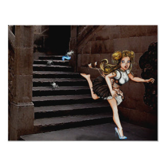 Cindy and the Mice on stairs Card