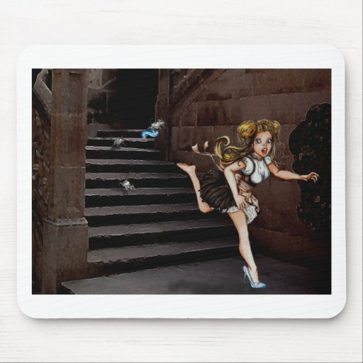 Cindy and the Mice on stairs Mouse Pad