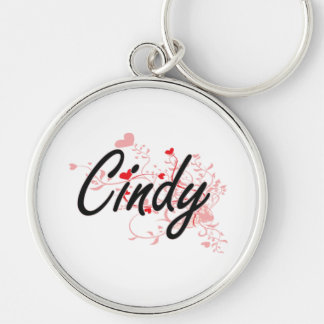 Cindy Artistic Name Design with Hearts Keychain
