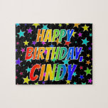 "[ Thumbnail: ""Cindy"" First Name, Fun ""Happy Birthday"" Jigsaw Puzzle ]"