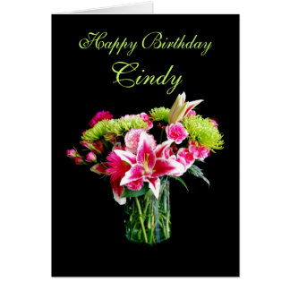 Cindy Happy Birthday, Stargazer Lily Bouquet Card
