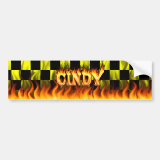 Cindy real fire and flames bumper sticker design.