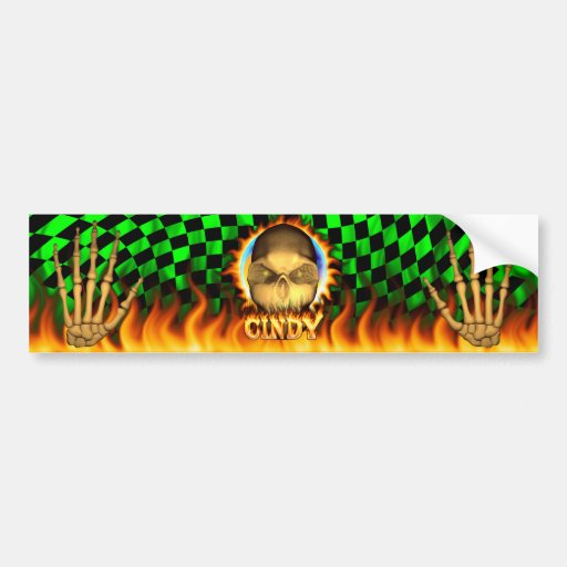 Cindy skull real fire and flames bumper sticker.