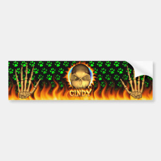 Cindy skull real fire and flames bumper sticker. bumper sticker