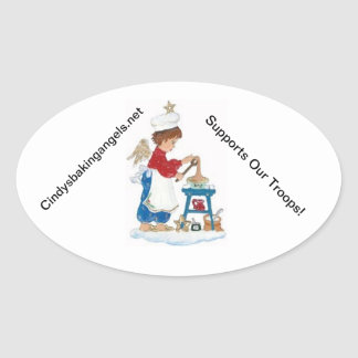 Cindy's Baking Angels Stickers! Oval Sticker