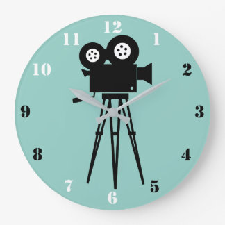 CINE CAMERA AND TRIPOD WITH BLACK &  WHITE NUMBERS LARGE CLOCK