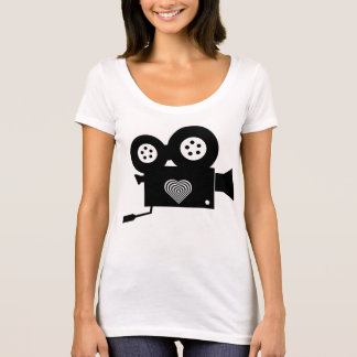CINE CAMERA Polly Cotton Scoop Neck T-Shirt