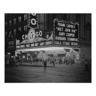 Cine de Chicago, 1941. Foto del vintage Póster