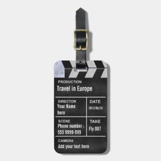 cine del clapperboard etiquetas para equipaje