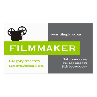 Cineasta gris, blanco, verde lima llamativa tarjeta personal
