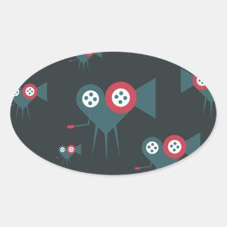 Cinema camera in the shape of love heart rolling oval sticker