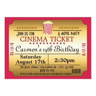 "Cinema Movie Ticket Popcorn Party Event Invitation 5"" X 7"" Invitation Card"
