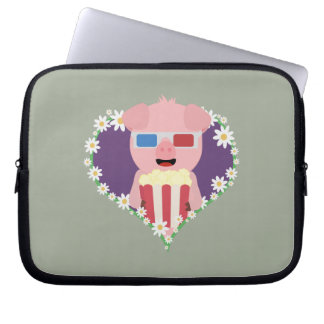 Cinema Pig with flower heart Laptop Sleeve
