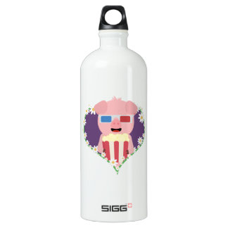 Cinema Pig with flower heart Zvf1w Aluminum Water Bottle