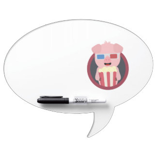 Cinema Pig with Popcorn Zpm09 Dry-Erase Board