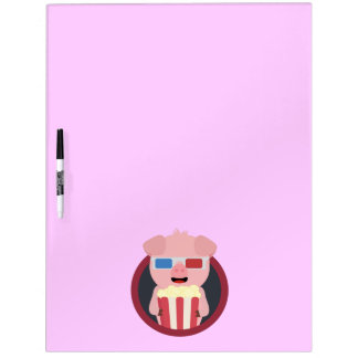 Cinema Pig with Popcorn Zpm09 Dry Erase Board