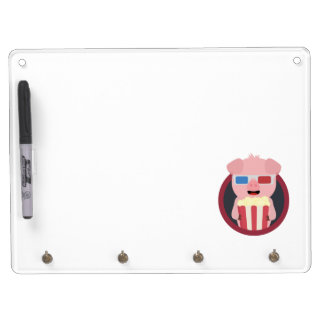 Cinema Pig with Popcorn Zpm09 Dry Erase Board With Keychain Holder