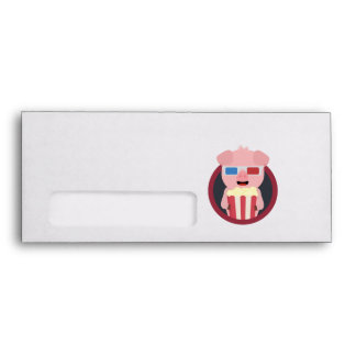 Cinema Pig with Popcorn Zpm09 Envelope