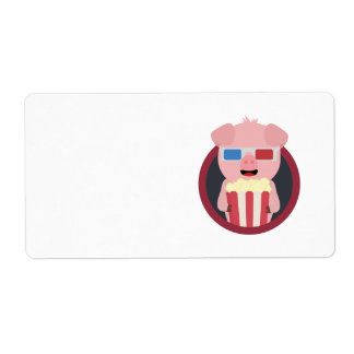 Cinema Pig with Popcorn Zpm09 Label
