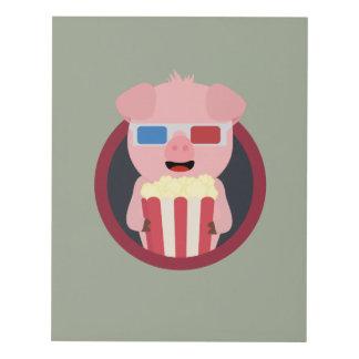 Cinema Pig with Popcorn Zpm09 Panel Wall Art