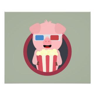 Cinema Pig with Popcorn Zpm09 Photo Print