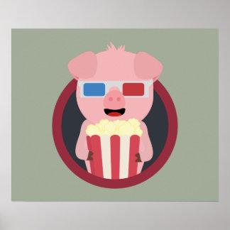 Cinema Pig with Popcorn Zpm09 Poster