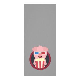 Cinema Pig with Popcorn Zpm09 Rack Card
