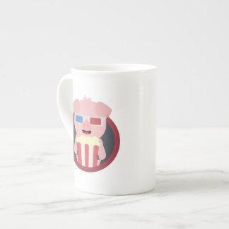 Cinema Pig with Popcorn Zpm09 Tea Cup