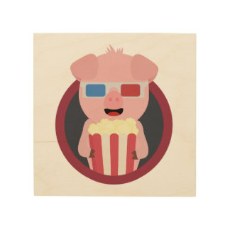 Cinema Pig with Popcorn Zpm09 Wood Wall Decor
