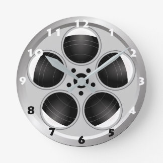 CINEMA REEL WITH BLACK AND WHITE NUMERALS ROUND CLOCK
