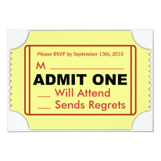 "Cinema RSVP Card 3.5"" X 5"" Invitation Card"