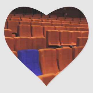 Cinema theater blue seat individual heart sticker