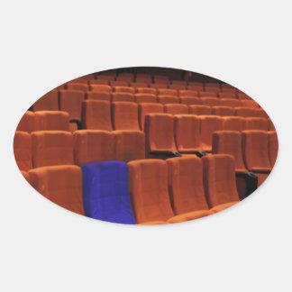 Cinema theater blue seat individual oval sticker