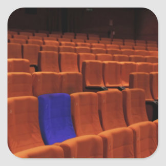 Cinema theater blue seat individual square sticker