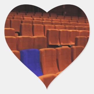 Cinema theater blue seat individual heart sticker