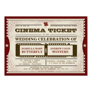"Cinema Ticket - Wedding Invitation 5"" X 7"" Invitation Card"
