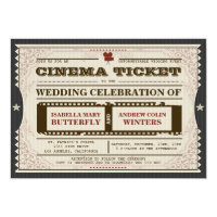 Cinema Ticket - Wedding Invitation on Grey