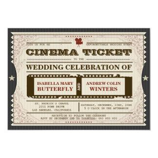 Cinema Ticket - Wedding Invitation on Grey
