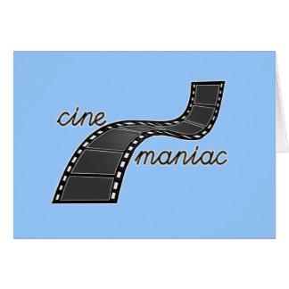 Cinemaniac con la tira de la película tarjeta de felicitación