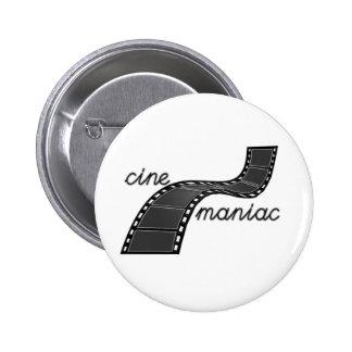 Cinemaniac with Film Strip Pinback Button