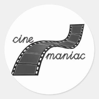 Cinemaniac with Film Strip Round Sticker