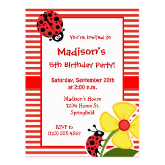 Cinnabar Color Horizontal Stripes; Ladybug Postcard