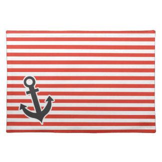Cinnabar Color Horizontal Stripes Striped Anchor Place Mats