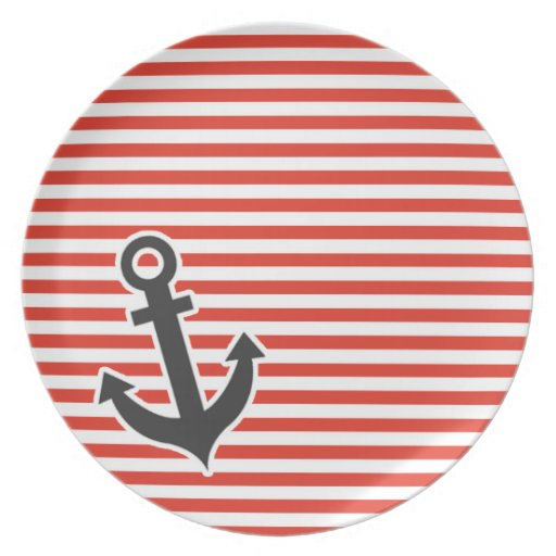 Cinnabar Color Horizontal Stripes; Striped; Anchor Dinner Plates