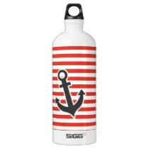 Cinnabar Color Horizontal Stripes; Striped; Anchor Water Bottle